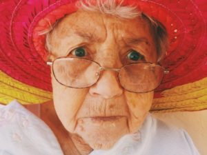 grandmother with sombrero